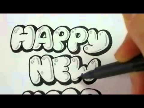 Make New Year Cards Draw Bubble Letters Youtube