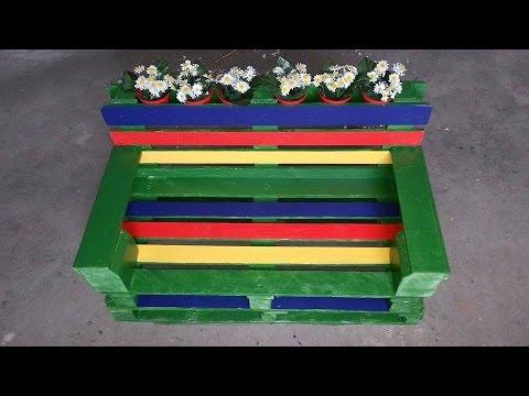Come costruire una panchina con due bancali tutorial youtube for Arredamento da giardino con bancali