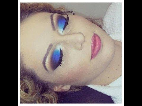 Maquiagem Azul com Roxo  Esfumado Preto