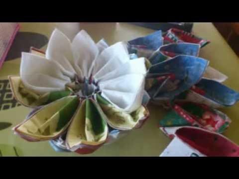 Tutorial Como hacer una piña con servilletas de papel