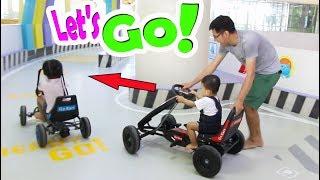 BÉ BÚN VÀ EM BẮP ĐI CHƠI CUỐI TUẦN CHƠI TRÒ CHƠI LÁI XE GO-KART, LÁI TÀU - Playground for Kids