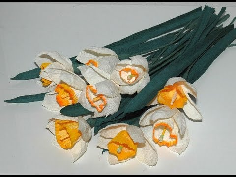Jak zrobić kwiaty z bibuły  Żonkile i Narcyzy DIY