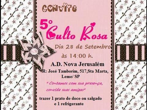 5º Culto Rosa - convite