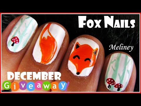 WINTER FOREST FOX NAILS - ANIMAL NAIL ART DESIGN TUTORIAL FOR SHORT NAILS WHAT DID THE FOX SAY?
