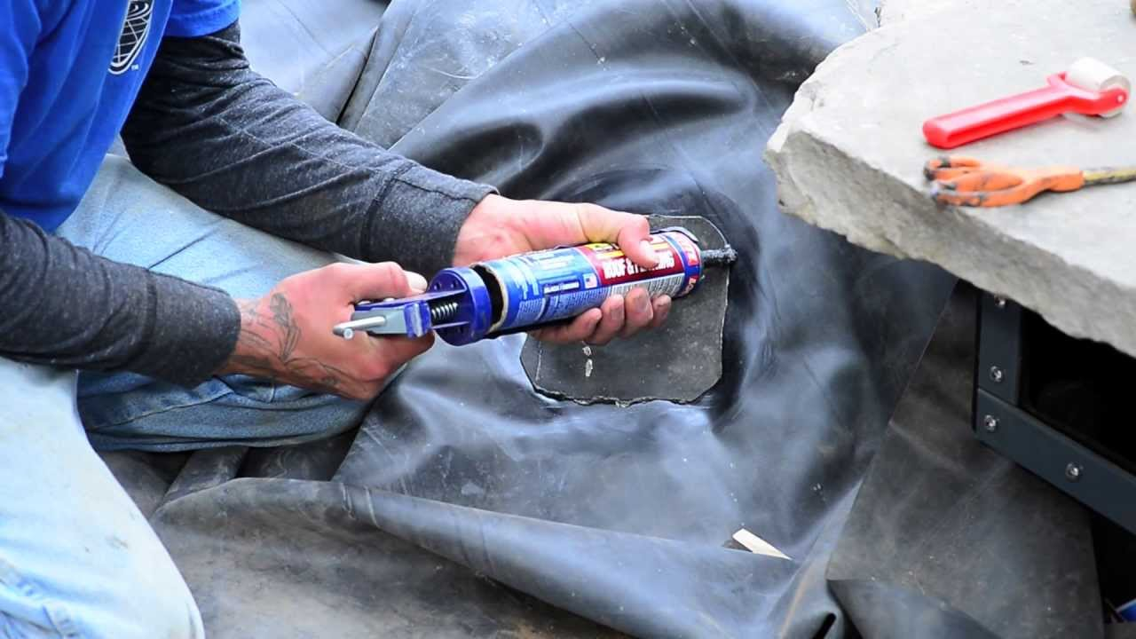 How to build a fish pond part 9 pond liner repair for Building a pond with liner