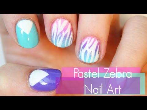 Pastel Zebra Nail Art
