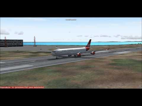 Landing British Virgin Island Airbus A340-300 Virgin Atlantic