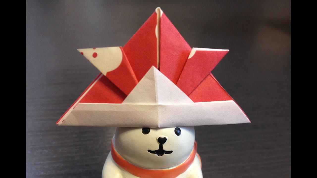 すべての折り紙 かぶと 折り紙 作り方 : Origami Hat