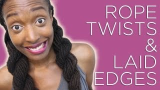 Loc Hairstyle Tutorial: Rope Twist Pigtails & Laid Edges