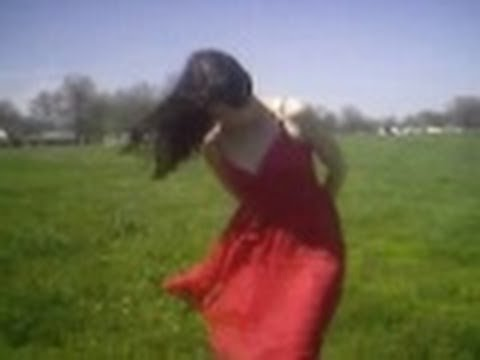 Open Field Wind Blowing Dress And Hair Around Windy Flies