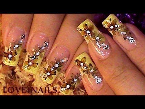 Autumn Nail Art Design Tutorial using Dry Flowers