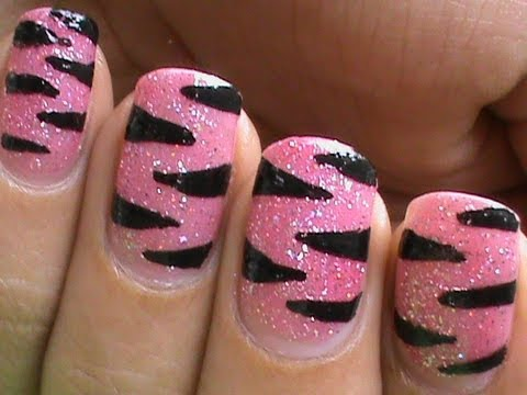 Pink Tiger Nail Art Designs