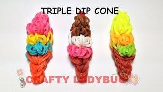 Rainbow Loom TRIPLE DIP ICE CREAM CONE EASY CHARM Tutorial