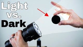The Worlds Blackest Black vs The Worlds Brightest Flashlight (32,000 lumen)—Which Will Win?