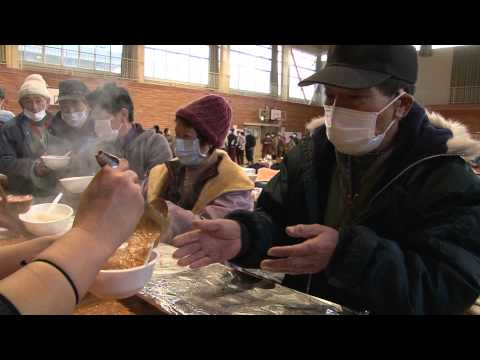 29th curry giveaway in tsunami shelter of iwate prefecture, japan