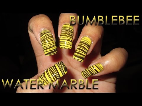Bumblebee Water Marble Nail Art Tutorial (Water Marble March #8), Blog post will be added later Nail polish used: China Glaze - Happy Go Lucky China Glaze - Liquid Leather More Water Marble March: http://www.youtube.com/pla...
