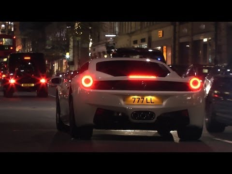 Supercars In London - HUGE 458 REVS, Capristo Aventador & more!!