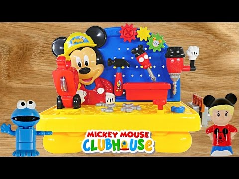Mickey Mouse Clubhouse Handy Helper Workbench Disney Junior Tools Playdoh Cookie Monster