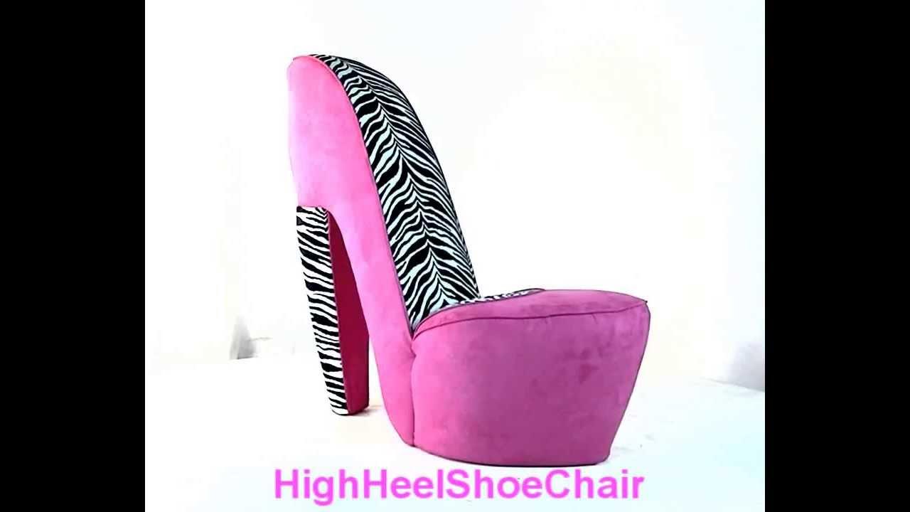 Zebra amp hot pink high heel shoe chair youtube