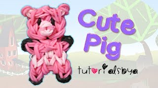 Cute Pig Charm/Mini Figurine Rainbow Loom Tutorial