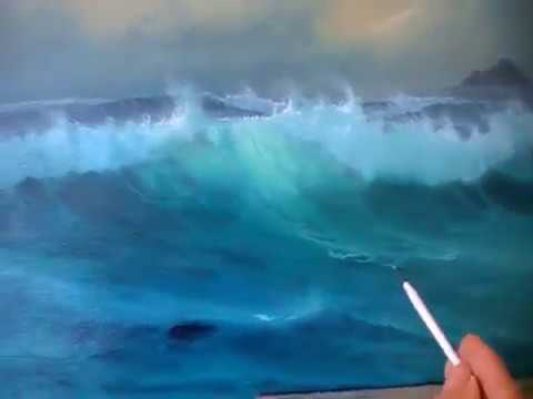 Acrylic Painting Demonstration In Bob Ross Style