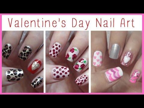 Valentine's Day Nail Art ♥ Three Easy Designs!!!