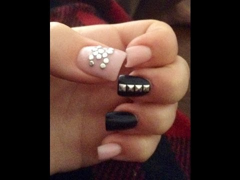 Chanel Designer Acrylic Nails *light pink and black*