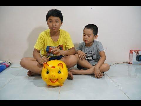 Đại Nghĩa đập lợn đất đi mua điện thoại Smartphone để quay phim Mn Toys Family Vlogs