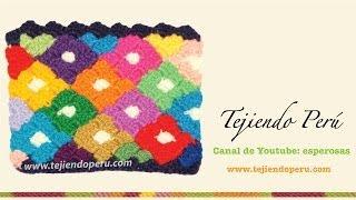 Punto Rombos De Colores Tejido En Crochet