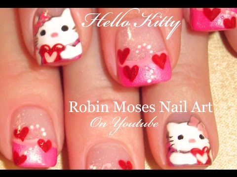 how to paint HELLO KITTY valentines day nails: robin moses nail art design tutorial 593