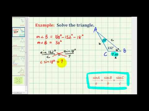 Example: Solving a Triangle Using the Law of Sines Given Two Angles and One Side