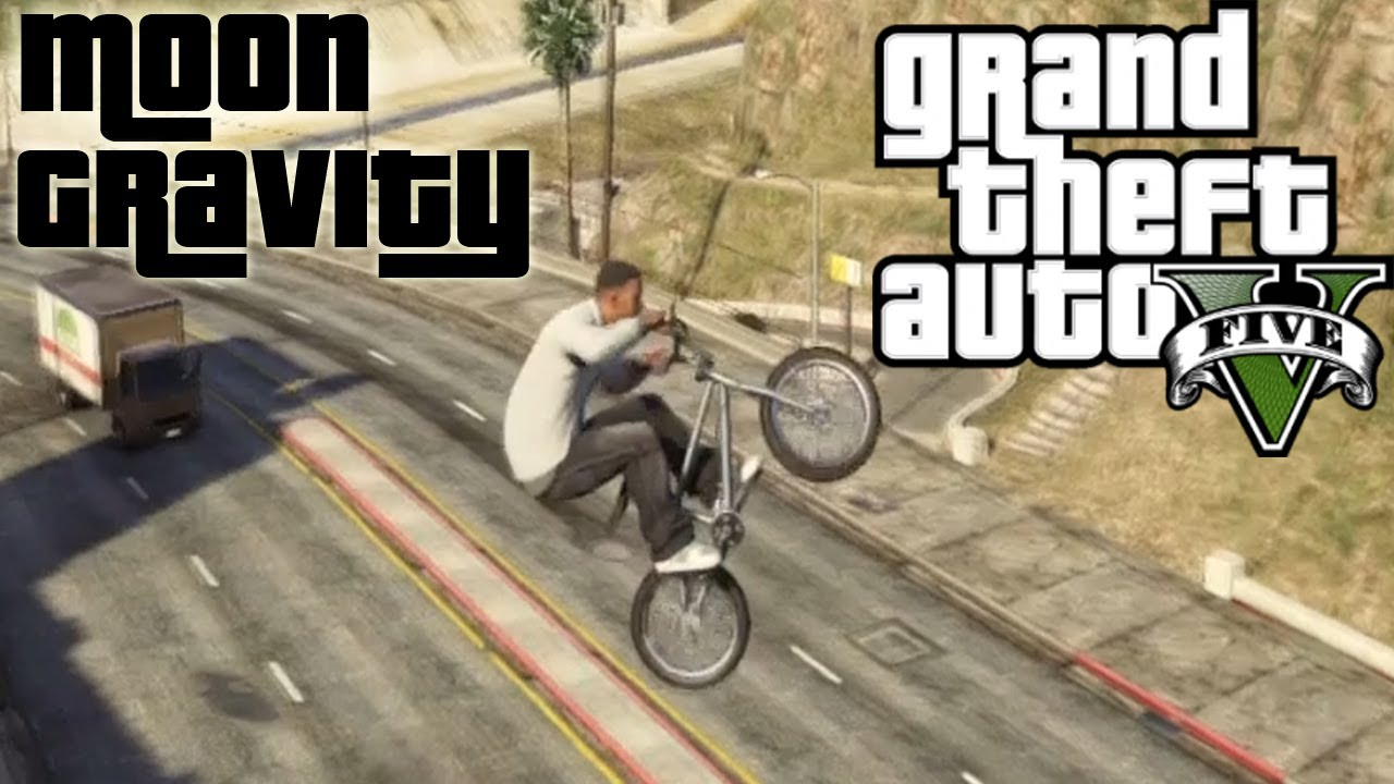GTA 5 - MOON GRAVITY + BMX = WIN - YouTube