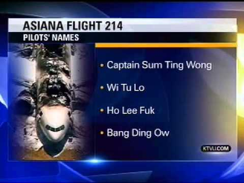 News Station Reports Asiana Flight 214 Pilots Name