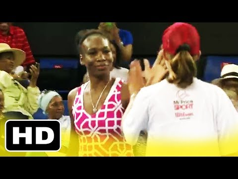 Ball girl BEATS Serena Williams in Tennis! High-five with Venus Williams (South Africa 2012)