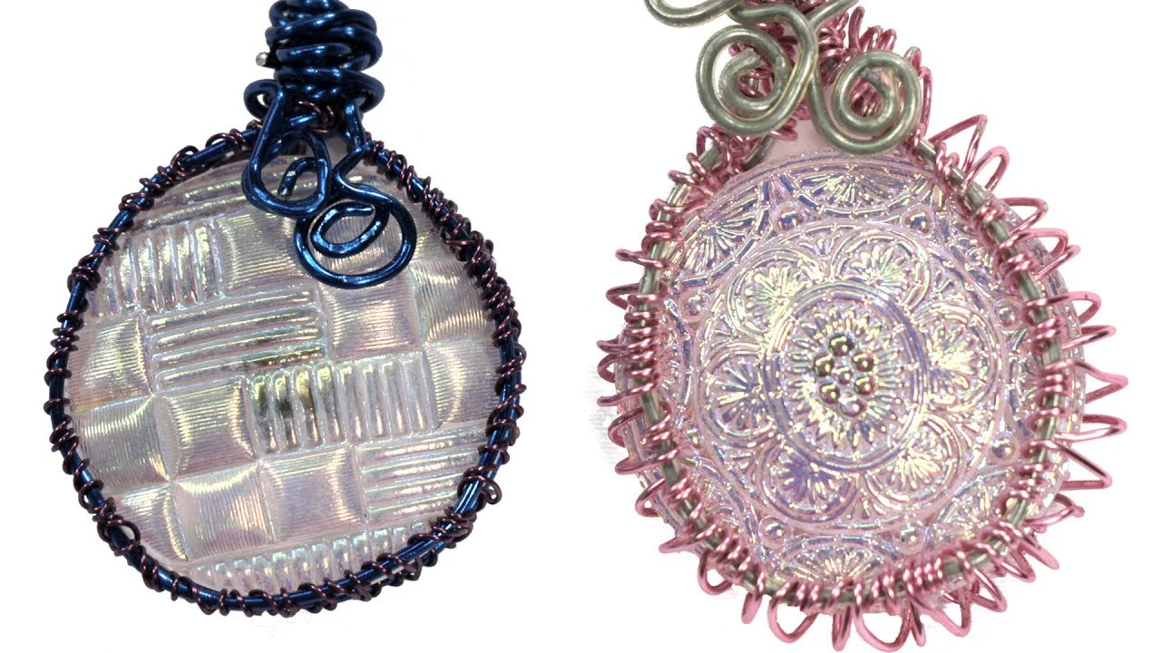 Wire wrapped button bezel pendant tutorial youtube for Step by step wire jewelry subscription