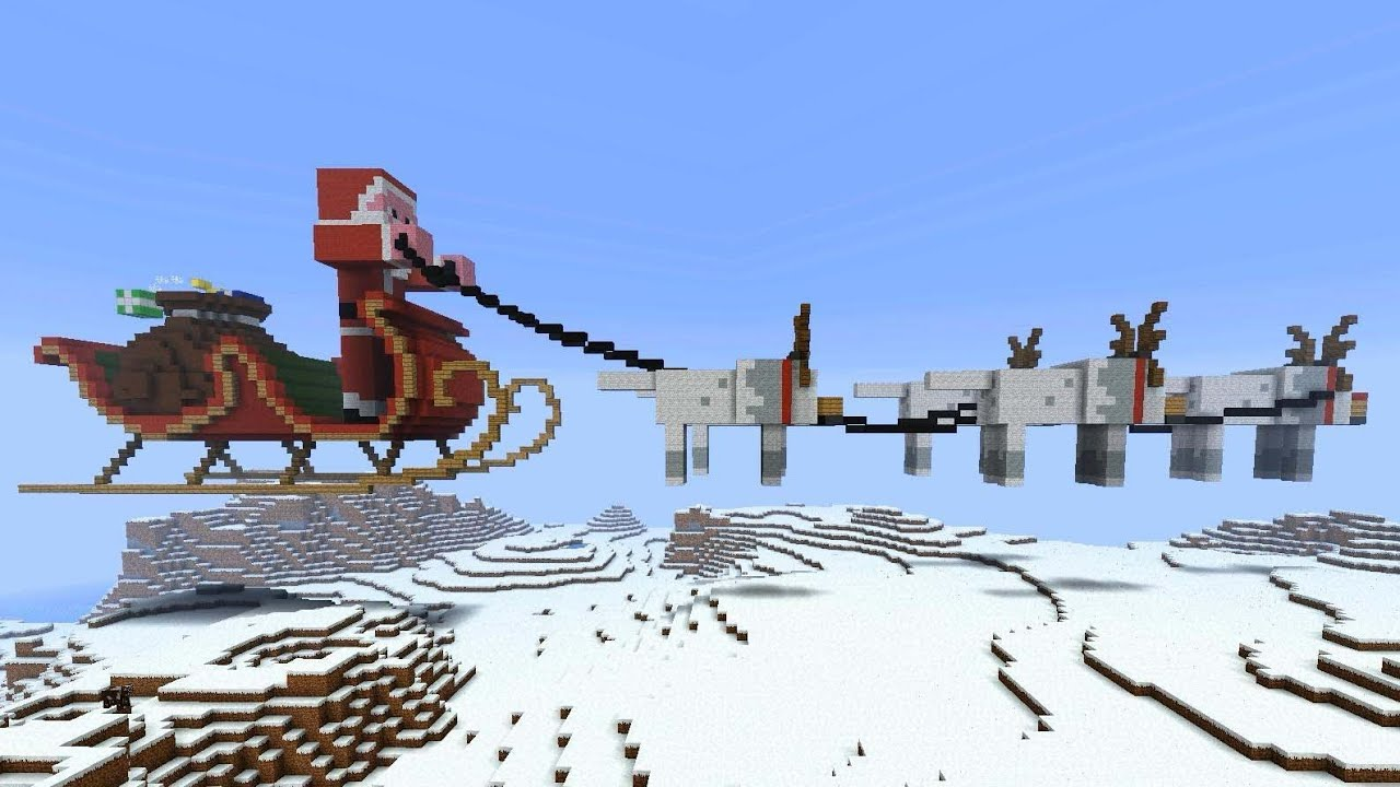 Minecraft - Santa in Sleigh with Reindeer explodes - YouTube