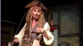 Johnny Depp surprises Disneyland guests as Jack Sparrow in Pirates of the Caribbean ride