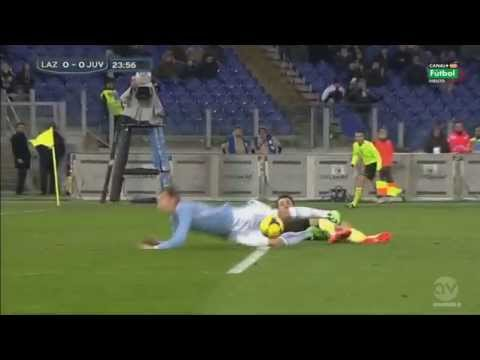 Juventus goalie Gigi Buffon sent for clattering into Lazio striker Miroslav Klose in the box