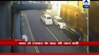 Britain: Senior citizen hit by a speeding car, walks away unhurt-Exclusive visuals