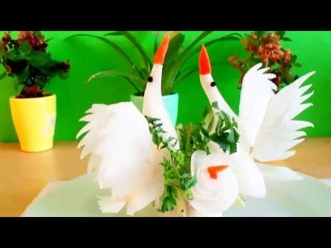 Art In White Radish Show -  Vegetable Carving a birds or swans Tutorial