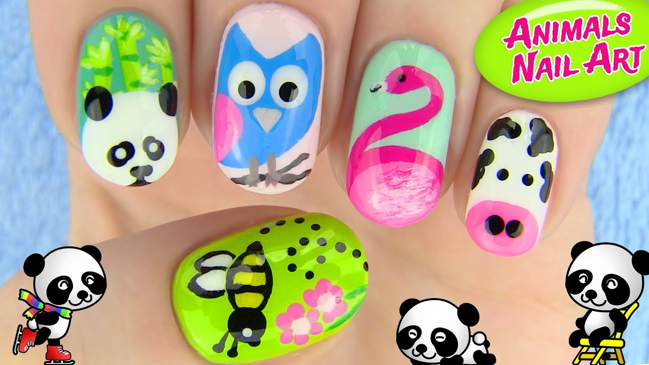 Animals nail art 5 nail art designs youtube Diy nail art ideas youtube