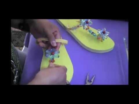 Sandalias Decoradas 1ra parte (En espanol) www.alohacasadelarte.com