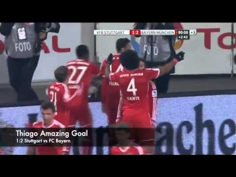 Thiago Alcantara Amazing Goal HQ with Replay / Stuttgart vs FC Bayern München