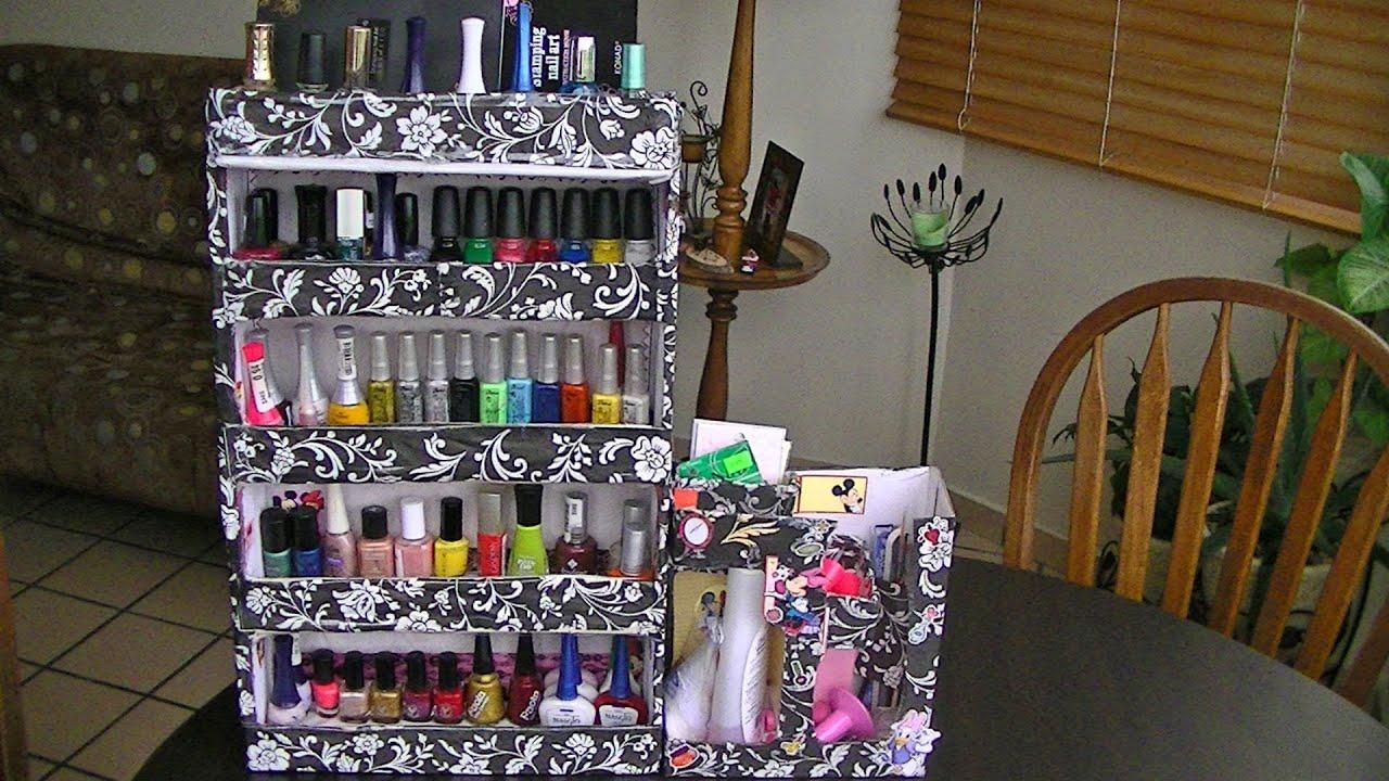 Organizador De Baño Con Material Reciclado:como hacer un organizador para esmaltes – YouTube