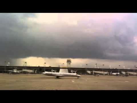 T-storm with lightning at Cleveland Airport