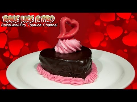 Mini Chocolate Valentine's Cake With Dark Chocolate Ganache