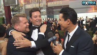 Interview on the Emmys Red Carpet with James Corden and Jimmy Fallon