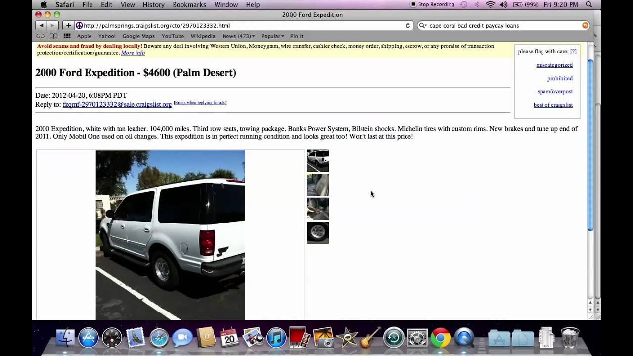Craigslist Palm Springs CA Used Cars - Under $500 Models ...