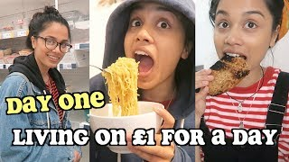 living on £1 a day for a week - DAY ONE   clickfortaz