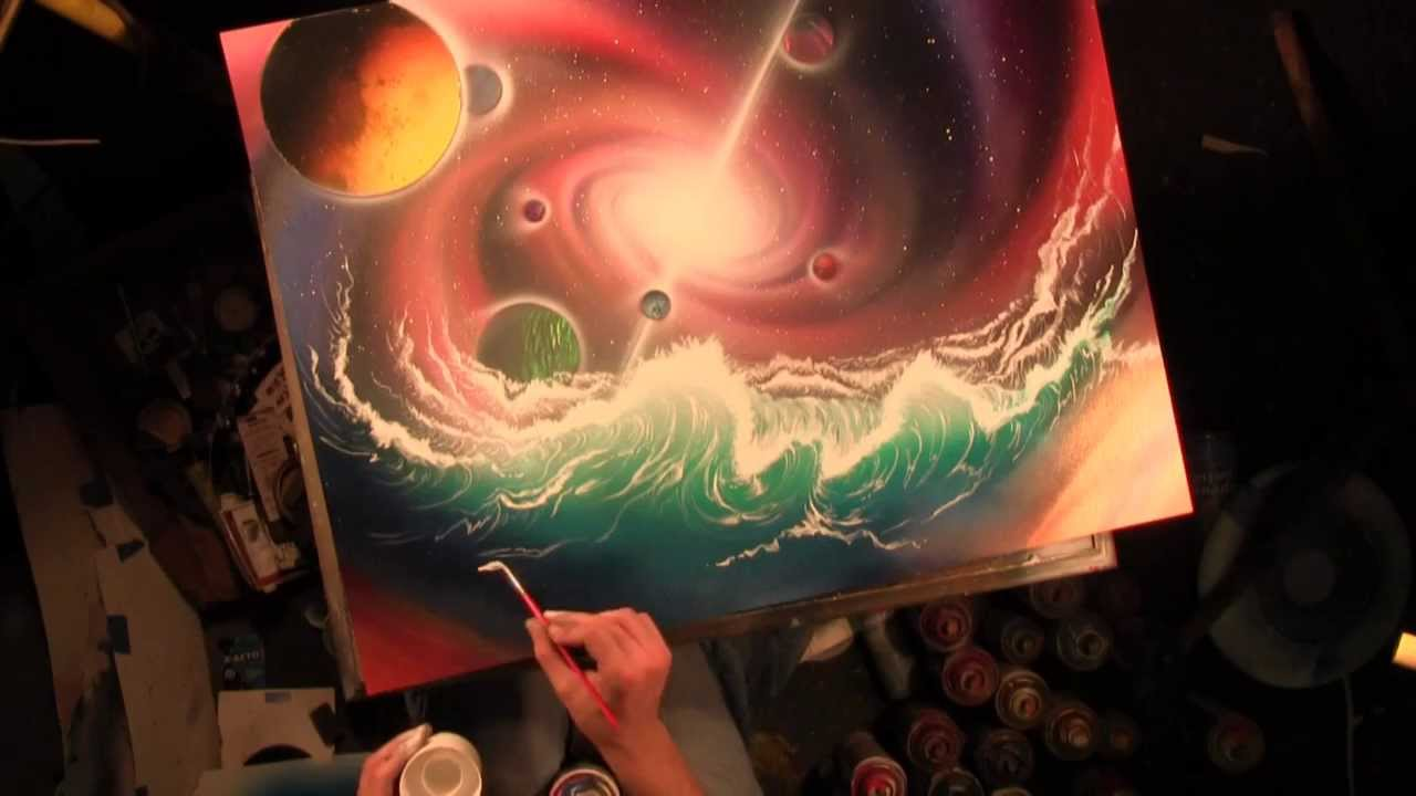 universe and planets spray painting art by matt sorensen youtube. Black Bedroom Furniture Sets. Home Design Ideas